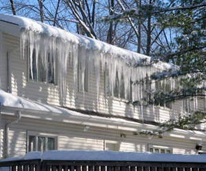 Snow damage, ice dam  recovery services, Wareham MA, Cape Cod, roof & gutter damage reconstruction, disaster recovery services, southeastern MA